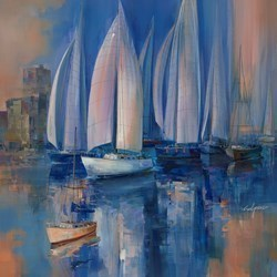 Still Reflections I by Wilfred -  sized 37x38 inches. Available from Whitewall Galleries